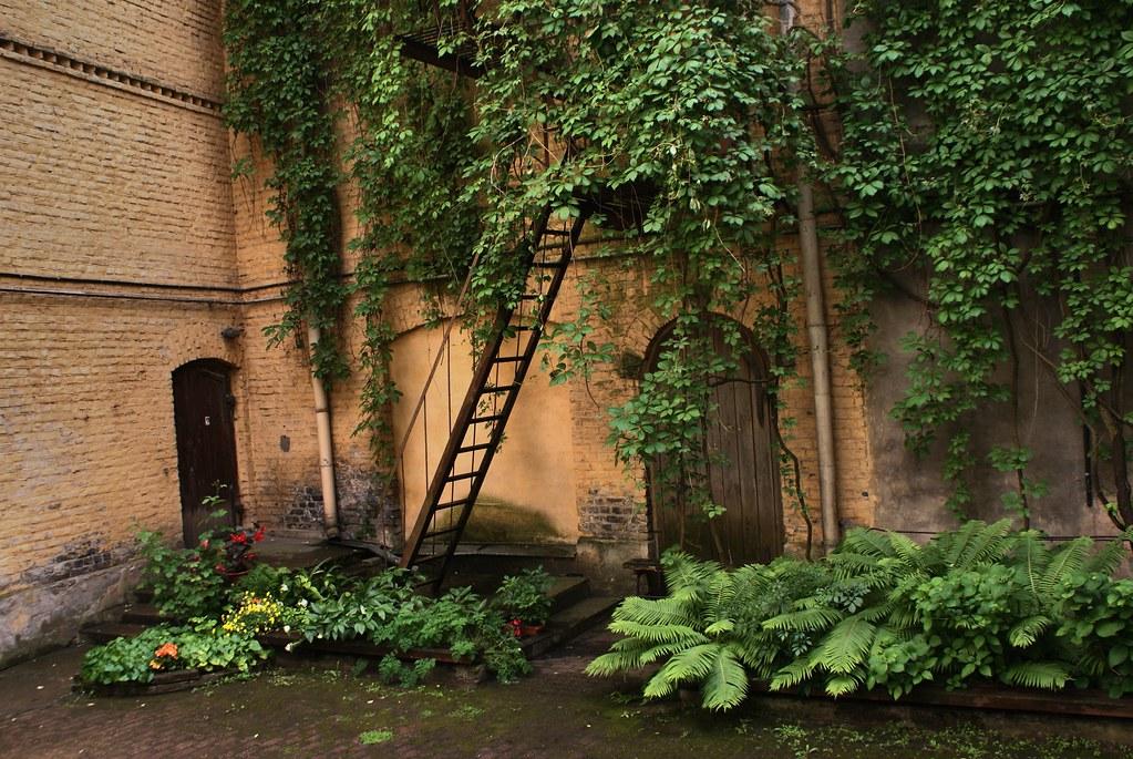 Dans une arrière cour verdoyante du vieux Riga en Lettonie.