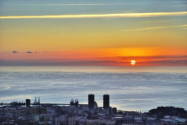 Condensation wake at dawn