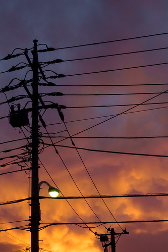 sunset telephone pole electrical wire tokyo japan machida