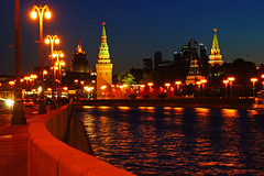 Moscow Kremlin by night. Lights in the river