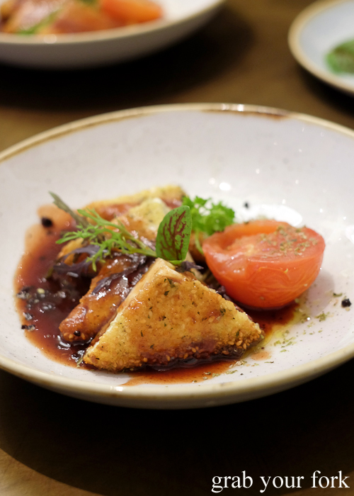 Sesame crusted salmon with hot quince syrup at 1821 Greek restaurant in Sydney