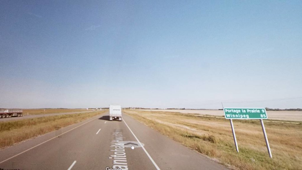 Portage la Prairie 9km, Winnipeg 85 km. #manitoba #ridingthroughwalls #xcanadabikeride #googlestreetview