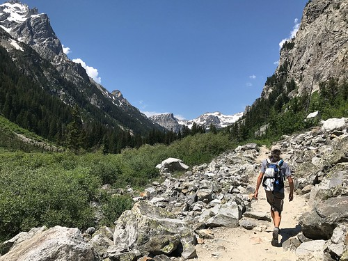 Hiking up Cascade Canyon in Grand Teton National Park, Wyoming