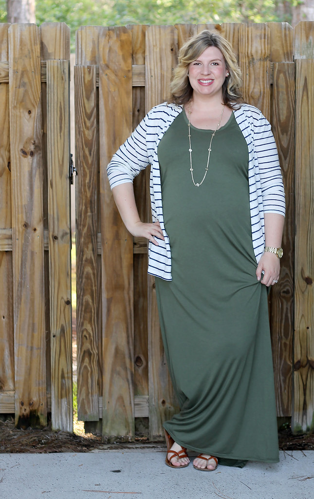 maternity green maxi, blue stripe cardigan 7