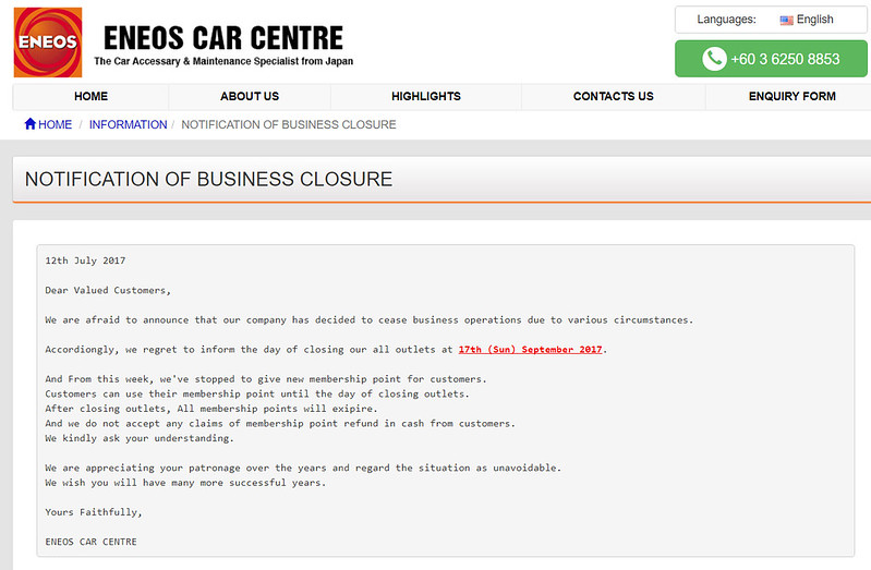 eneos malaysia closing down