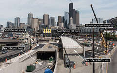 Future lanes and ramps take shape at SR 99 tunnel's south tunnel portal