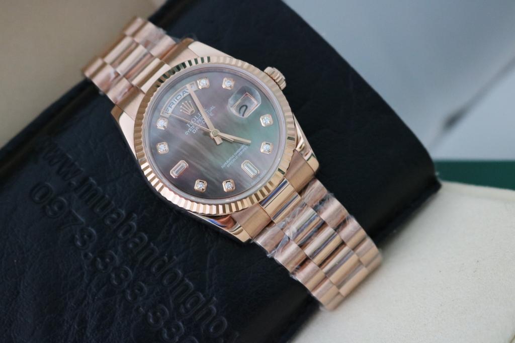 Đồng hồ rolex day date 6 số 118235 – mặt đá xà cừ – vàng hồng 18k – size 36mm