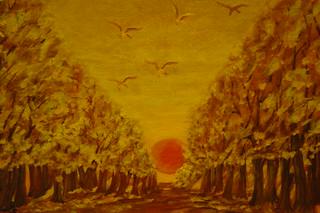 6.- Une allée au soleil cochant