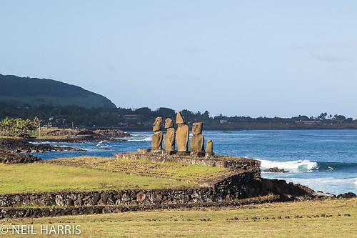 Rapa Nui [Easter Island] 17 - Tahai - Ahu Vai Uri with Hanga Roa behind (N1357)