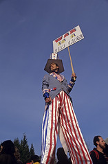 Man on Stilts at Gas Works Park  Seattle protesting the US involvement in Persian Gulf January 15 deadline 1991 Seattle Washington State USA