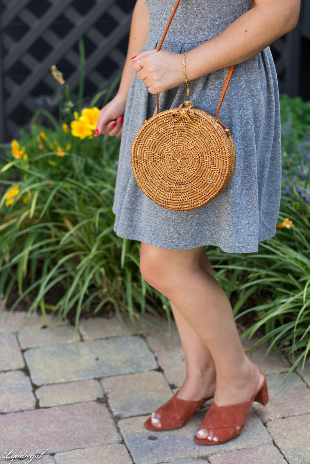 grey dress, mules, round rattan bag, straw hat-6.jpg