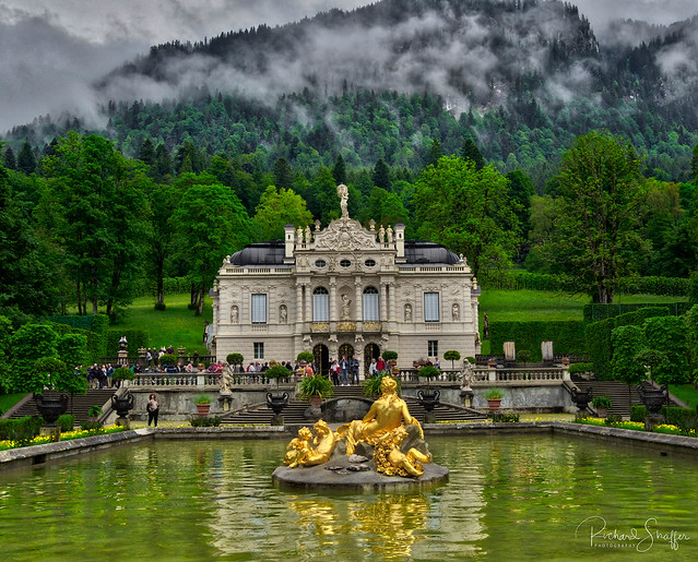 Linderhof Palace in the clouds