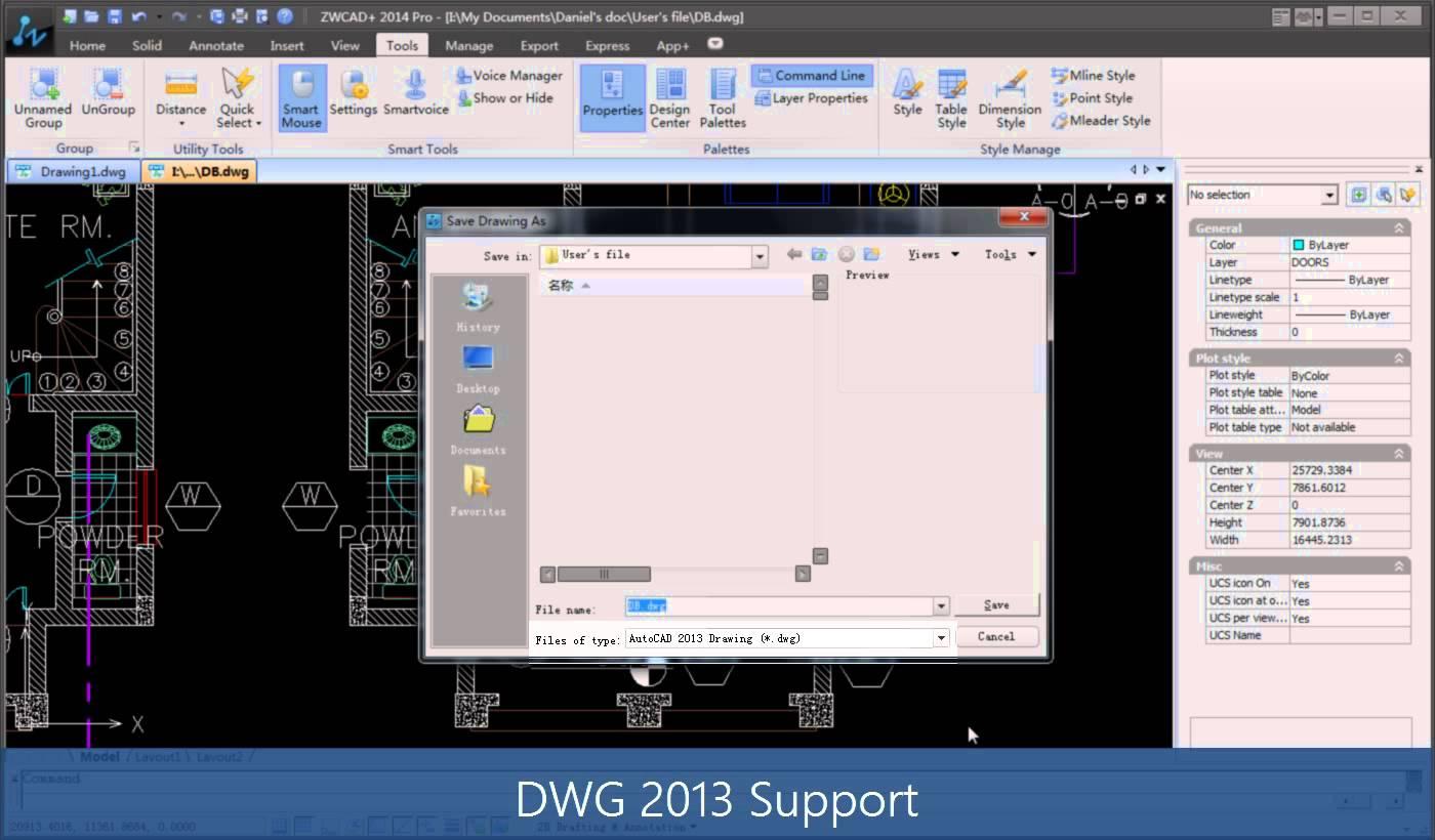 Working with ZwSoft ZWCAD 2014 SP1 Pro build 2013.10.25.17150
