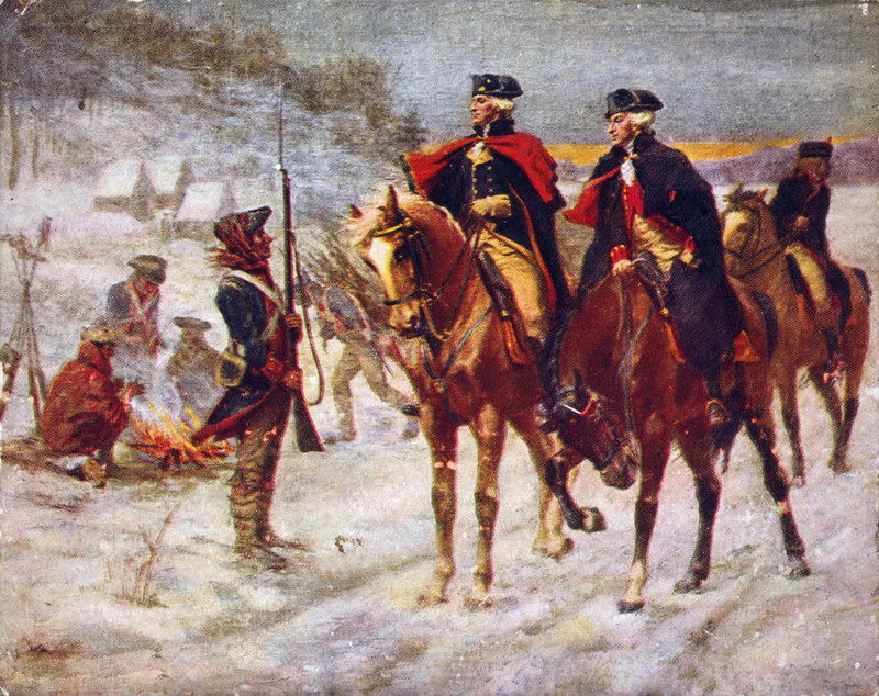 Lafayette (right) and Washington at Valley Forge