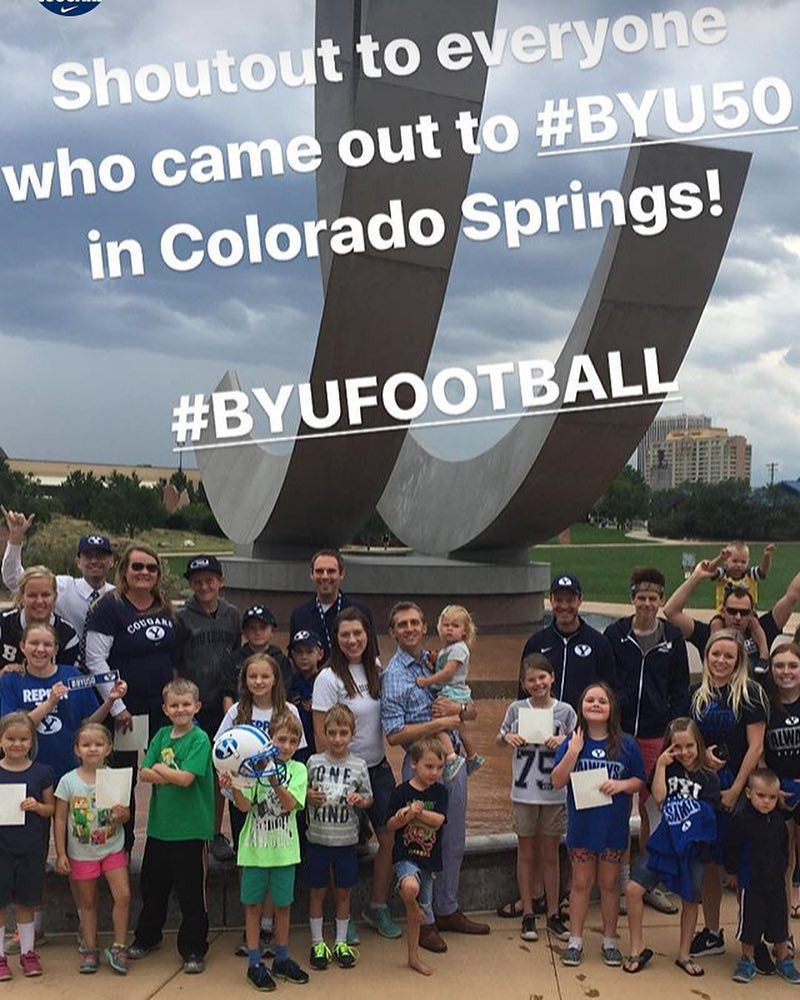 Even though it looks like we won the helmet, we were just holding it for the picture. People were staked out here, guessing it was the location for #byu50 so being the fourth or so family was pretty respectable (and we got stickers! ... but no shirts)