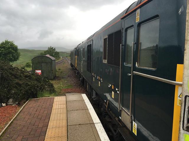Caledonian Sleeper class 73 locomotives at Rannoch station