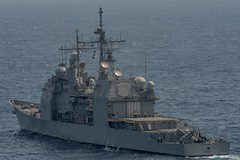 In this file photo, USS Shiloh (CG 67) patrols waters south of Japan, May 22. (U.S. Navy/MC2 Nathan Burke)