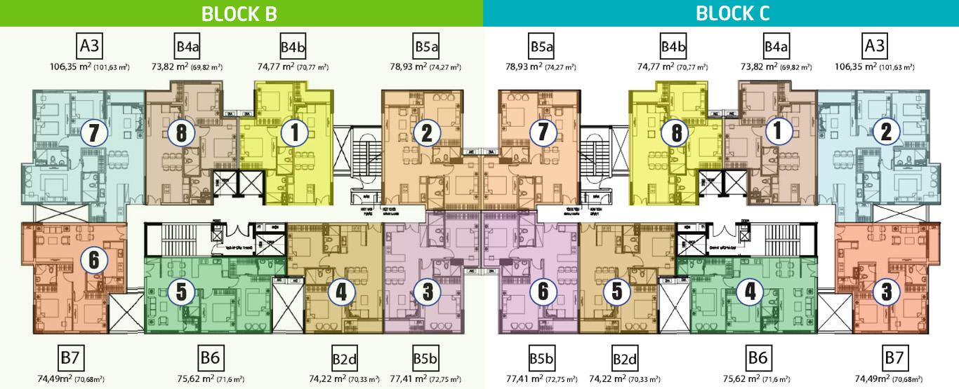 Mặt bằng block B, C dự án căn hộ Hưng Phát Silver Star.