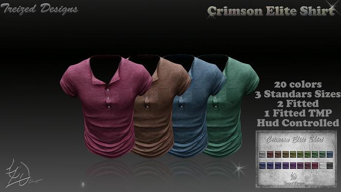 Treized Designs Crimson Elite Shirt FATPACK - SecondLifeHub.com