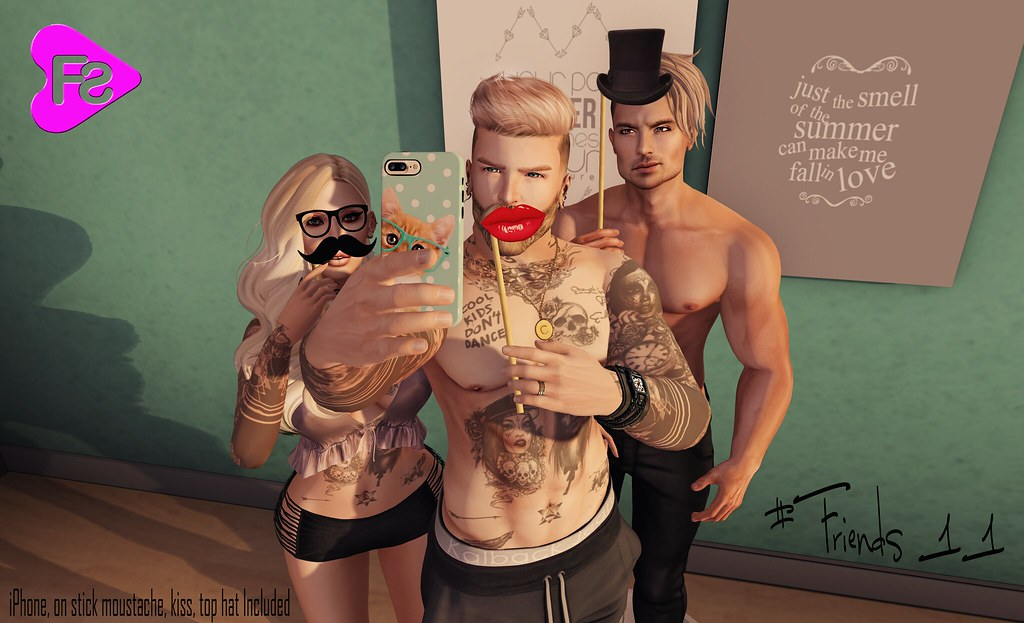 [Frimon Store] #Friends 11 (iPhone, On Stick Moustache, Kiss and Top Hat Included) - SecondLifeHub.com