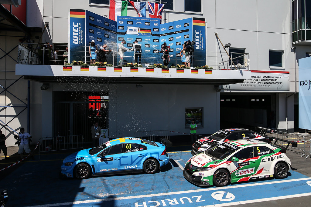 Podium Race 1 CATSBURG Nicky (ned), Volvo S60 Polestar team Polestar Cyan Racing, MICHELISZ Norbert (hun), Honda Civic team Castrol Honda WTC, HUFF Rob (gbr), Citroen C-Elysee team ALL-INKL.COM Munnich Motorsport, ambiance portrait during the 2017 FIA WTCC World Touring Car Race of Nurburgring, Germany from May 26 to 28 - Photo Antonin Vincent / DPPI