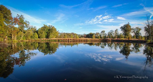 beautyofnature bluesky nature water lake pond reflection mirror wideanglelens wideangle landscape sunnyday sunny green trees clouds canon canont5i northaugustasc northaugusta southcarolina southeast south southern