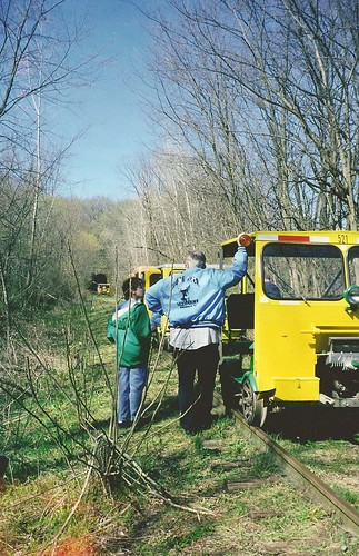 The 13-year-old yours truly getting a history lesson from our motorcar operator near the Stewart Tunnel