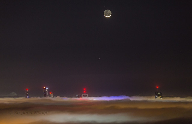 Moon and Mercury above foggy Brisbane #1