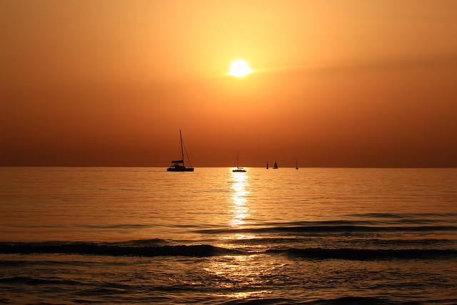 Sailing in a golden sea - Tel-Aviv beach