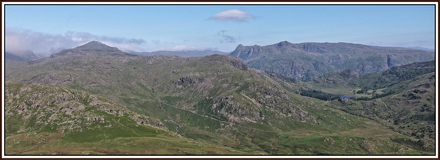 The Langdales from Wetherlam-edge.