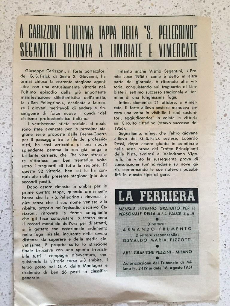 A Carizzoni l'ultima tappa della San Pellegrino (1956) (materiale inviato dal figlio Danilo .... grazie)