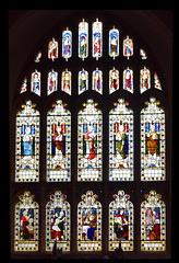 west window (from top): Old Testament Prophets; angels; Christ the Good Shepherd with the four Evangelists; post-Ascension visions  (Lavers, Barraud & Westlake)