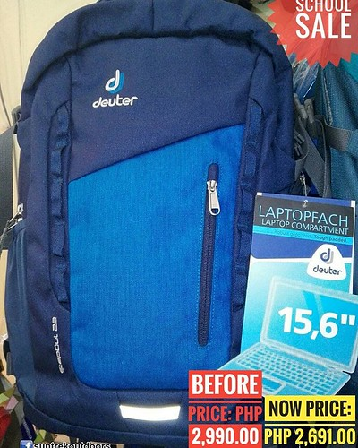 Backpack Sale! Applies to Deuter Brand Only.  Deuter Step out 22 liter Daypack Backpack.   Stores your office and uni equipment and/or all the gear for the climbing hall.  Fits 15.6 inches of  laptop.  SRP: 2,990.00  SALE PRICE: 2,691.00  Suntrek Outdoors