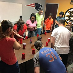 Friday Funday! #energydrinkflipcup #officefun