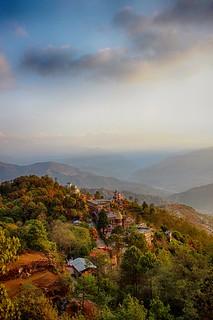 Sunrise near Himalaya, Nepal  #mountains #hill #sunrise #clouds #bright #green #nepal #himalayas