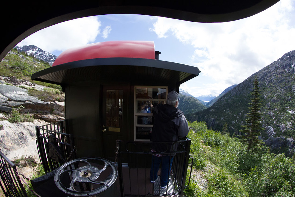 Outdoor platform on White Pass and Yukon Route train ride