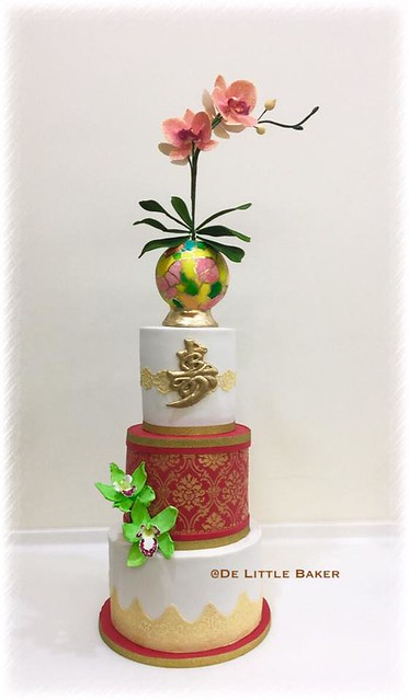 Stained Glass Effect and Orchids Themed Cake by Low Hong Teng of De Little Baker's Home