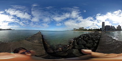 View from the pier between Fort DeRussy Beach and Gray's Beach in Waikiki - a 360° Equirectangular VR (Theta S)