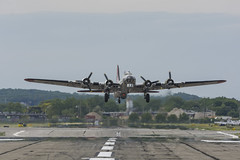 B 17 Flying fortress Yankee Lady taking off from the runway at Republic Airport