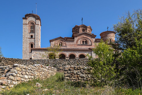 охрид ohrid македонија macedonia fyrom yugoslavia old architecture christian orthodox church byzantine ancient temple holy site place balkan heritage blue sky sunshine sunlight spring view perspective angle peaceful quiet quaint travel traveling traveler europe world fyromisnotmacedonia