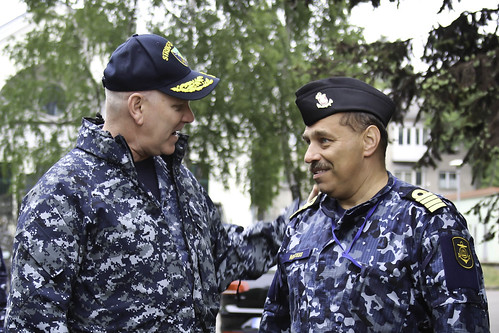 Mon, 06/05/2017 - 02:32 - 170605-N-PF515-008 – KLAIPEDA, Lithuania (June 5, 2017) Vice Adm. Christopher Grady, commander, Naval Striking and Support Forces NATO, greets Capt. Arunas Mockus, commander in chief of the Lithuanian Navy,  during exercise BALTOPS 2017, June 5. BALTOPS is an annual U.S.-led, Naval Striking and Support Forces NATO-executed, multinational maritime exercise in the Baltic Sea region designed to enhance flexibility and interoperability among its participants. (U.S. Navy photo by Chief Mass Communication Specialist America A. Henry/ Released)