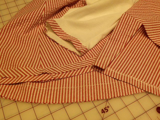 Detail of fabrics and hem finishes