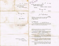 Summons served 26th October 1882, to Jack Limmer Sparkall, Wicklewood, Norfolk, Farmer  p1-2