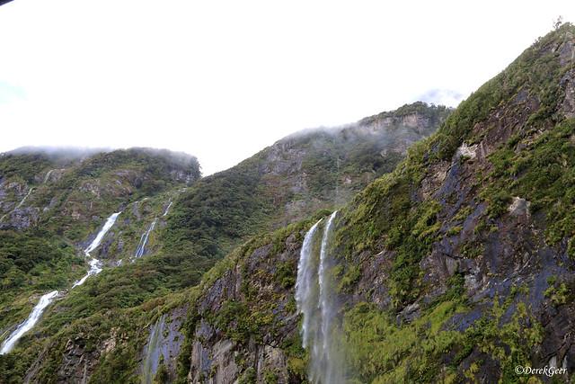 Milford Sound waterfalls - New Zealand S Island