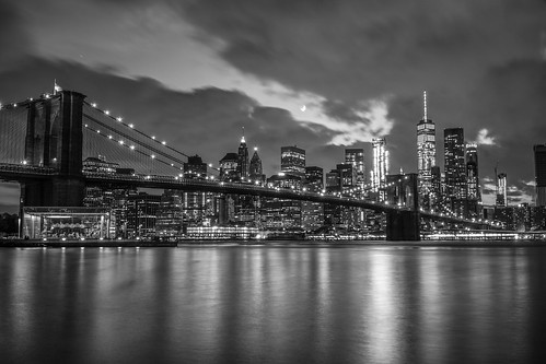 NYC Skyline Nightshot BnW