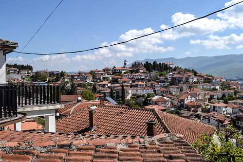 ohrid охрид macedonia македонија fyrom city downtown historic buildings history heritage architecture sunny sunshine sunlight day balkan europe world travel traveling traveler destination view perspective angle light bright roof roofs mountain mountains hill palace garden balcony quiet peaceful empty byzantine church monastery house houses ancient old nikon nikond3100 d3100