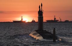 Submarine WASHINGTON (SSN787) begins sea trials at sunrise.  Photo by Matt Hildreth