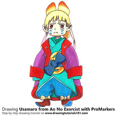 Usamaro from Ao No Exorcist with ProMarkers [Speed Drawing]