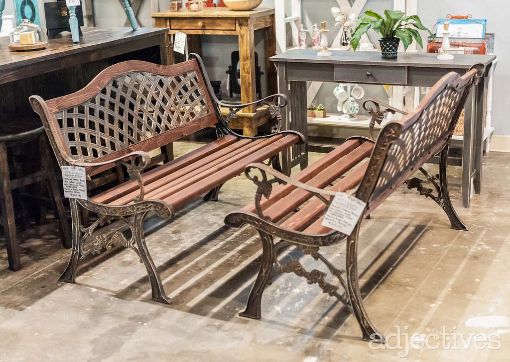 Vintage, metal benches in Altamonte by Pipe Dreams Furninture