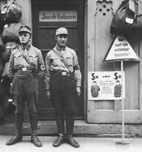 German stormtroopers enforcing the boycott of Jewish businesses
